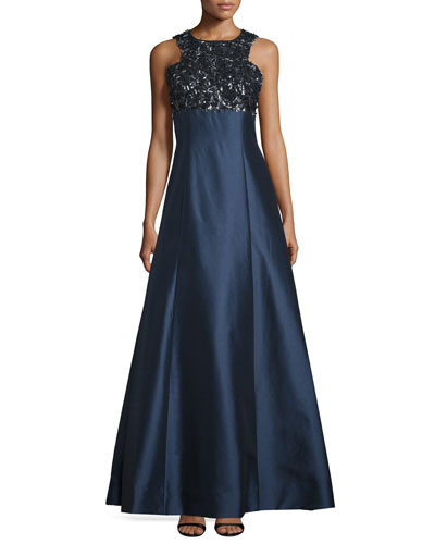 Sleeveless Embellished-Bodice Ball Gown, Navy