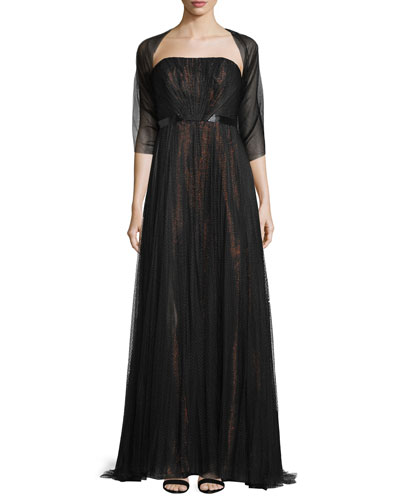 Strapless Metallic-Underlay Gown, Black/Rose Gold