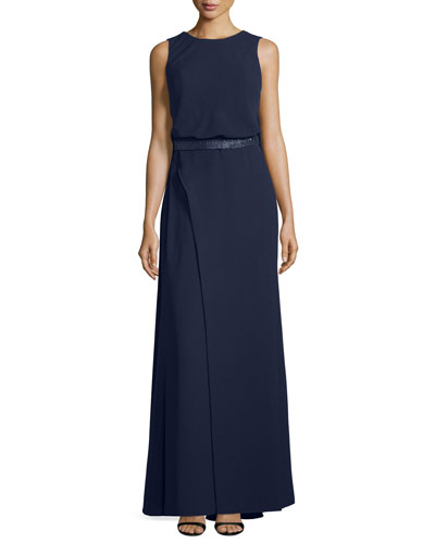 Sleeveless Draped-Back Evening Gown, Ink
