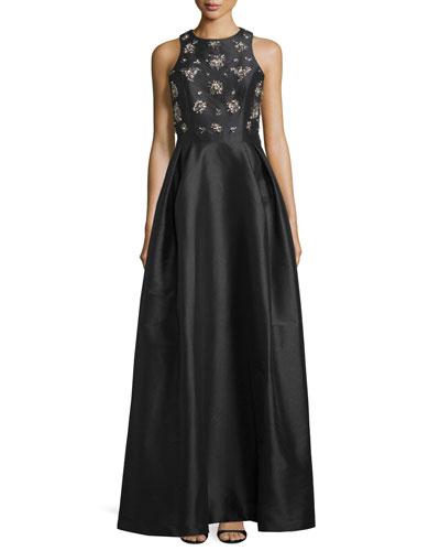 Embellished-Bodice Gown W/Crisscross Back, Black