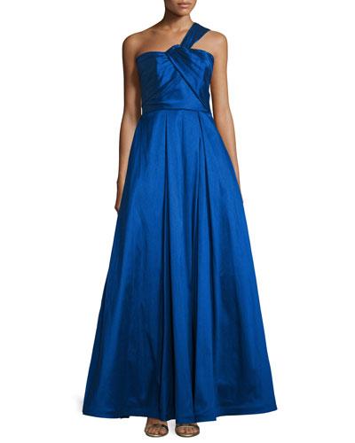 One-Shoulder Evening Ball Gown, Cobalt