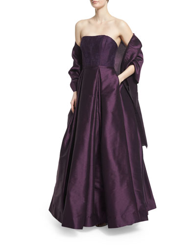 Strapless Lace-Bodice Gown, Plum