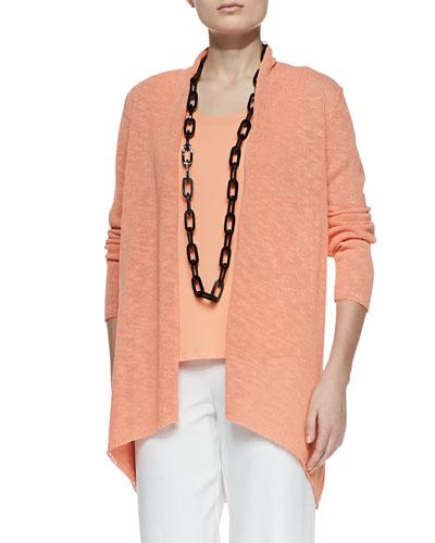 Melange Linen-Blend Cardigan, Papaya