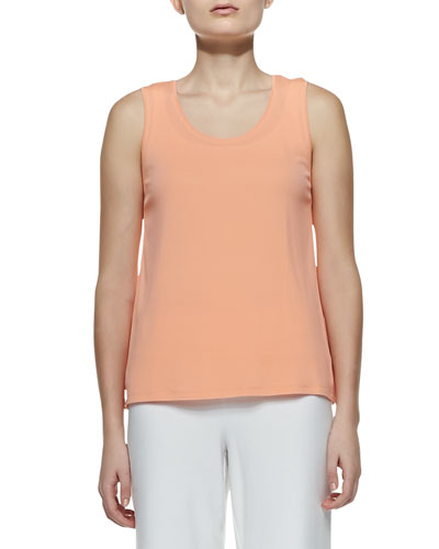 Stretch Silk Jersey Tank, Papaya, Petite