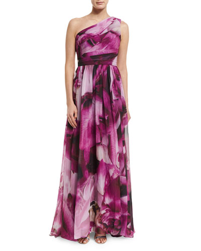 One-Shoulder Floral-Print Gown, Orchid