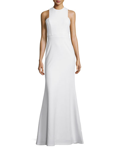 Sleeveless Open-Back Gown, Off White