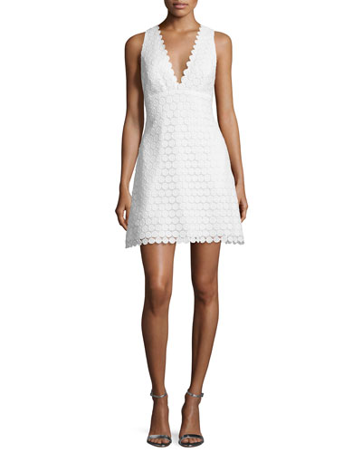Sleeveless V-Neck Crocheted Lace Cocktail Dress