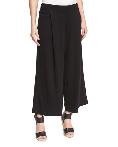Pleated Wide-Leg Ankle Pants, Black