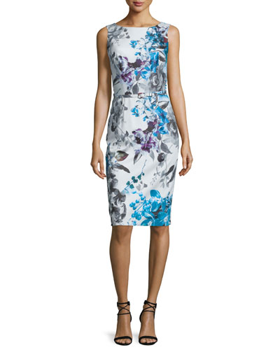 Sleeveless Floral-Print Belted Dress