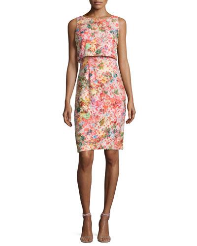 Sleeveless Floral Popover Dress