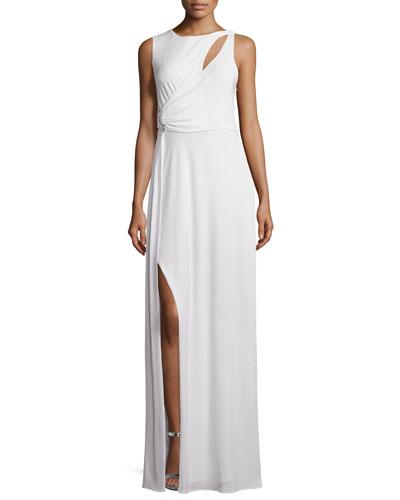 Sleeveless Draped Gown W/Cutouts, Bone