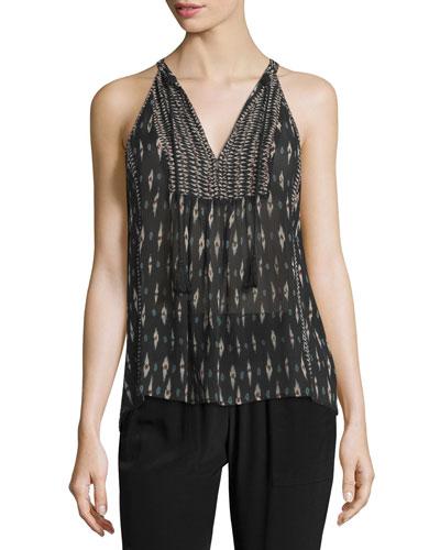 Shara Printed Sleeveless Silk Top