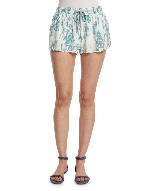 Layana Tie-Dye Drawstring-Waist Shorts, Haze Blue