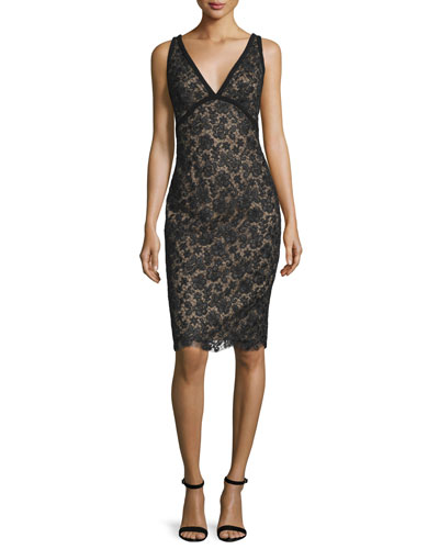 Sleeveless Novelty-Net Cocktail Dress, Black/Nude