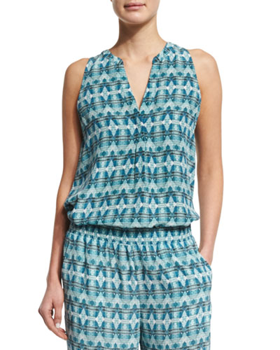 Aruna Sleeveless Printed Silk Top, Haze Blue