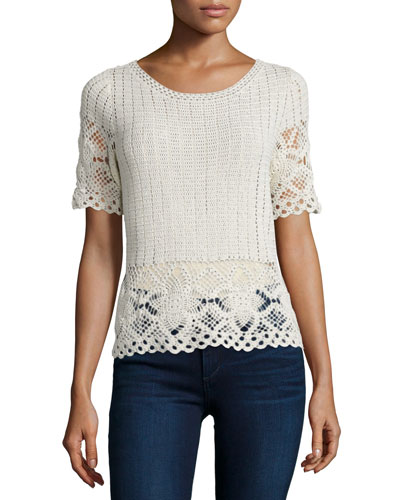Alizeh B Crocheted Short-Sleeve Top