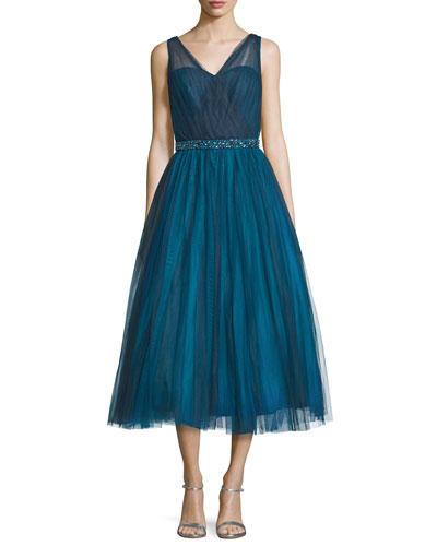 Embellished-Waist Ballet-Length Dress, Teal