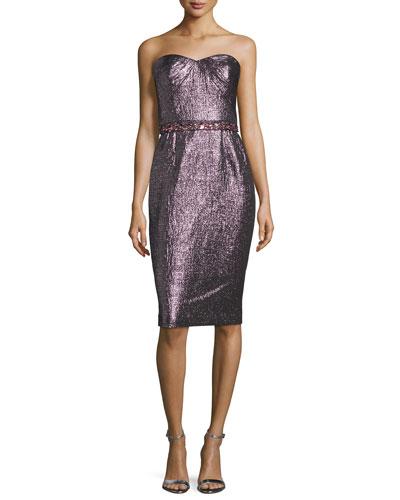 Strapless Metallic Cocktail Dress, Rose/Gold