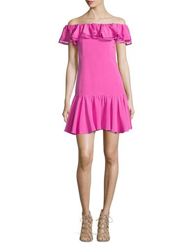 Off-the-Shoulder Silk-Blend Dress, Fuchsia