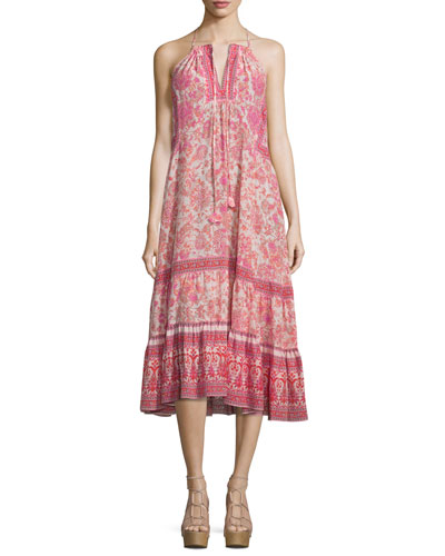 Sleeveless Silk Dreamweaver Midi Dress, Powder Pink