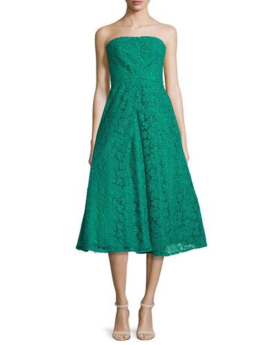 Strapless Lace Midi Dress, Kelly