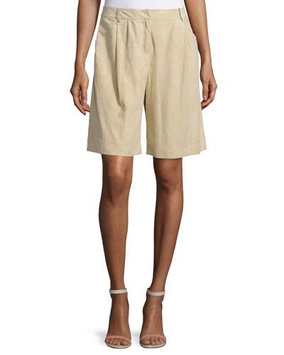 Clarkson Pleated-Front Shorts, Sahara