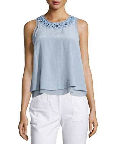 Sleeveless Silk Mirrored-Eyelet Blouse, Blue Mist