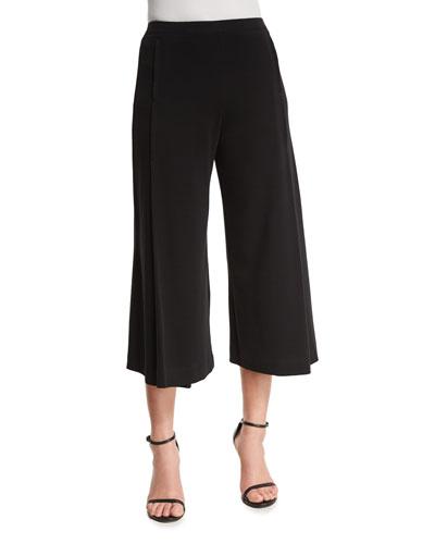 Comfortable Pleated Interlock Culottes, Black, Plus Size