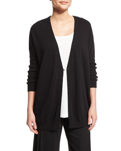 One-Button Relaxed Cotton Cardigan, Black, Plus Size