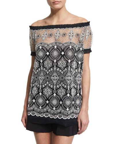Off-The-Shoulder Embroidered Peasant Top, Black/White