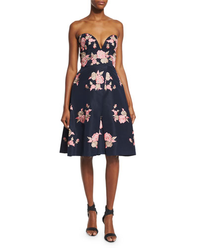 Strapless Floral-Embroidered Cocktail Dress, Navy/Pink