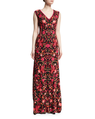 Sleeveless V-Neck Floral-Embroidered Gown, Red/Black
