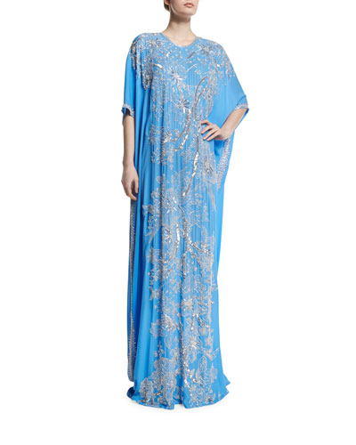 Metallic Floral-Embroidered Caftan, French Blue