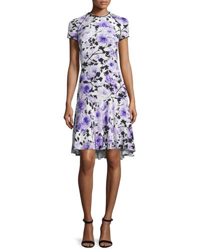 Short-Sleeve Floral-Print Cocktail Dress, Purple/White