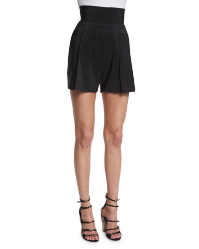 High-Waist Pleated-Front Shorts, Black