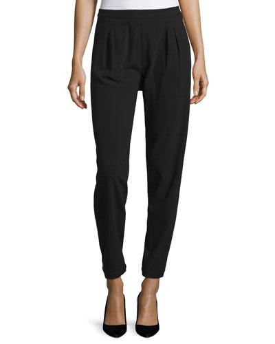 Easy Pleated-Front Slim Pants, Black
