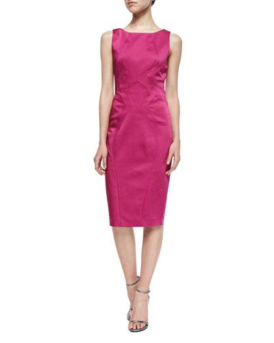 Lydia Sleeveless Satin Sheath Dress, Magnolia