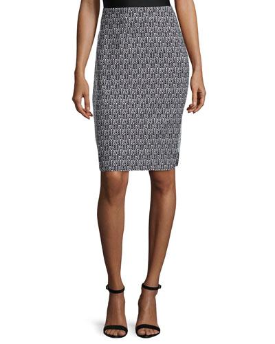 Pippa Mid-Rise Pencil Skirt, Black/Bone