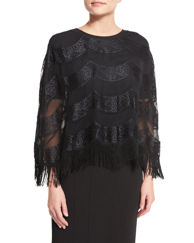 Stevie Fringe-Trim Poncho, Black