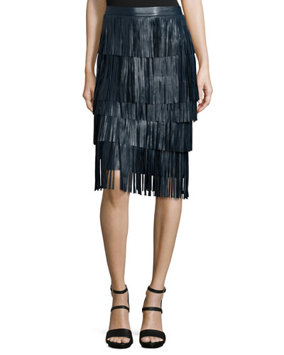 Layered-Fringe Leather Midi Skirt, Petrol