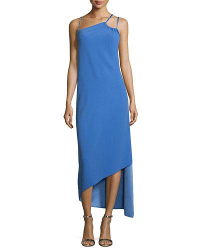 Sleeveless Asymmetric Column Gown, Wisteria