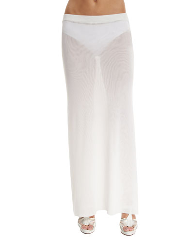 Long Solid Coverup Skirt, White