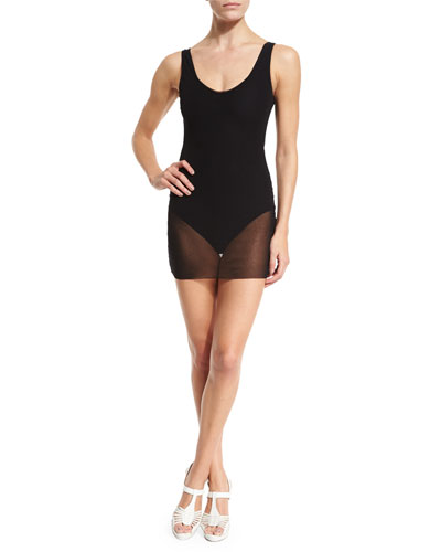 Solid One-Piece Swimsuit W/Tulle Overlay, Black