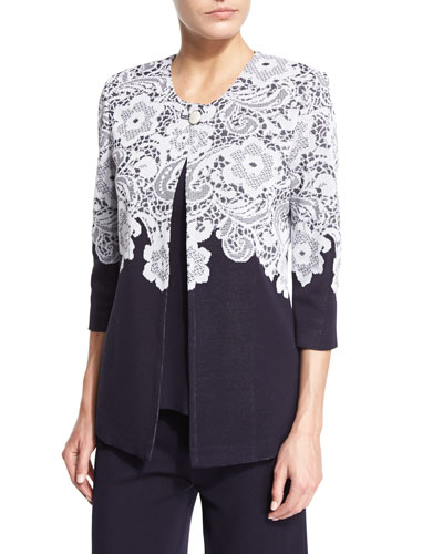 3/4-Sleeve Lace-Print Jacket, Navy/White, Petite