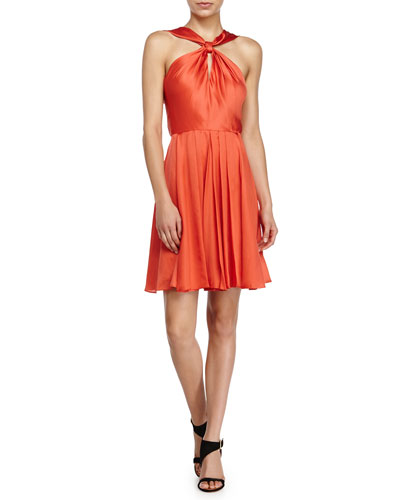 Knotted-Front Dress, Tangerine