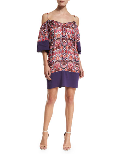 Cold-Shoulder Printed Coverup Tunic/Dress, Rhapsody