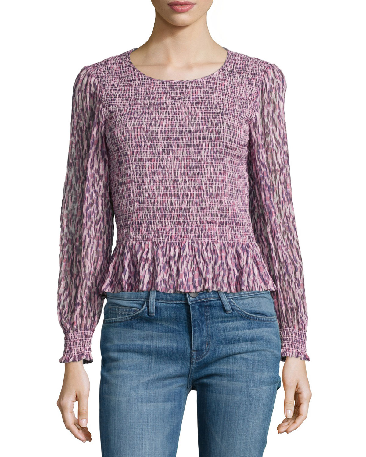 Long-Sleeve Batik-Ruched Mirage Top, Pink
