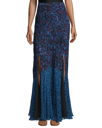 Bouquet Rhapsody Silk-Blend Maxi Skirt, Blue