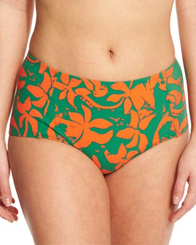 Minorca Printed High-Waist Swim Bottom, Athena/Green