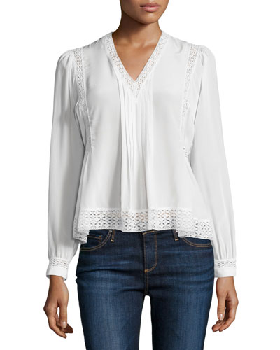 Long-Sleeve Lace-Trim Chiffon Top, Snow